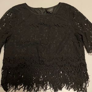 Romeo & Juliet Couture Black Crochet & Fringe Top